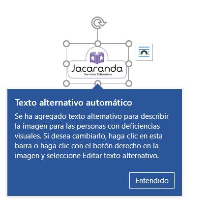 Captura de pantalla. Aparece el logotivo de Jacaranda con una ventana de Microsoft Word en la que informa que se ha añadido un texto alternativo automático.