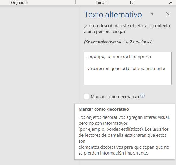 """Captura de pantalla de la columna de Texto alternativo. Aparece como texto alternativo automático de la imagen """"Logotipo, nombre de la empresa""""."""